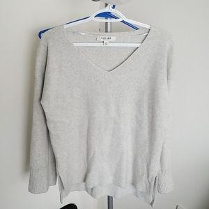 Light grey wool sweater w flared sleeves